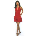 red stretch knit salsa dress