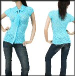 V neck rayon georgette blue